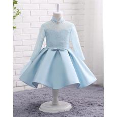 Custom Mandarin Collar Knee Length Flower Girl Dress with Long Sleeves