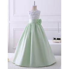 Discount A-Line Sleeveless Floor Length Satin Lace Flower Girl Dresses