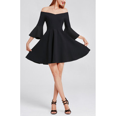 Affordable Off-the-shoulder Mini Black Homecoming Dress with Bell Sleeves
