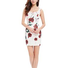 Inexpensive Sheath Sweetheart Short Printed Satin Homecoming Dresses