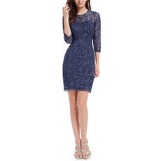 2019 New Sheath Short Lace Homecoming Dresses with 3/4 Long Sleeves