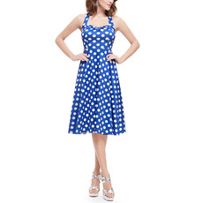 Custom A-Line Halter Knee Length Satin Dotted Homecoming Dresses
