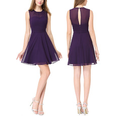 Affordable A-Line Sleeveless Mini/ Short Chiffon Homecoming Dresses