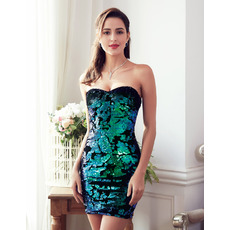 Sexy Sheath Sweetheart Mini/ Short Satin Sequin Homecoming Dresses