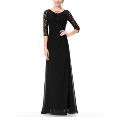 Affordable Long Chiffon Black Mother Dresses with Half Lace Sleeves
