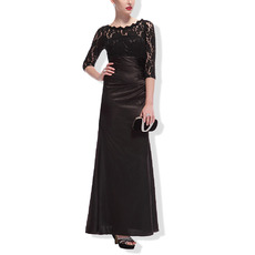 Custom Floor Length Black Mother Dresses with 3/4 Long Lace Sleeves