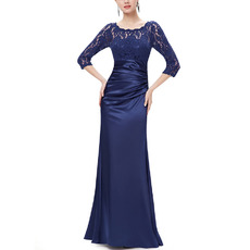 Discount Floor Length Satin Mother Gowns with 3/4 Long Lace Sleeves