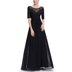Custom A-Line Floor Length Chiffon Mother Dresses with Half Sleeves