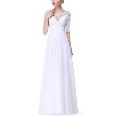 Inexpensive Long Chiffon Mother Dresses with Half Lace Sleeves