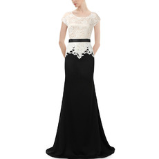 Elegant Floor Length Chiffon & Lace Mother Dresses with Short Sleeves