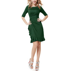Elegant Sheath Short Satin Mother of the Bride Dress with Half Sleeves