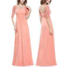 Custom Floor Length Chiffon Mother Dresses with Half Lace Sleeves