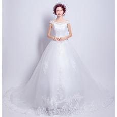 Elegant Off-the-shoulder Cathedral Train Organza Wedding Dresses