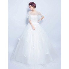 Elegant Ball Gown Floor Length Organza Wedding Dress with Short Sleeves