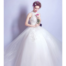 Custom Ball Gown Mandarin Collar Sleeveless Floor Length Wedding Dress