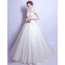 Custom Mandarin Collar Floor Length Wedding Dresses with Short Sleeves