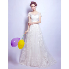 Discount Sweep Train Organza Wedding Dresses with Short Sleeves