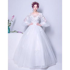 Elegant Ball Gown Floor Length Wedding Dress with Long Bubble Sleeves