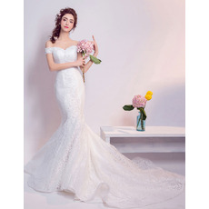 Inexpensive Mermaid Off-the-shoulder Long Lace Wedding Dresses