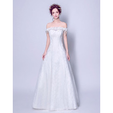 Elegant A-Line Off-the-shoulder Sweep Train Lace Wedding Dresses