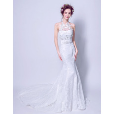 Custom Mermaid Halter Sleeveless Sweep Train Lace Wedding Dresses