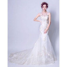 Elegant Sheath Court Train Satin Organza Applique Wedding Dresses