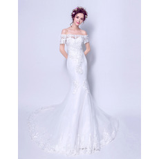 Custom Mermaid Off-the-shoulder Long Wedding Dress with Short Sleeves