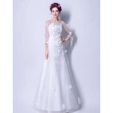2018 New A-Line Floor Length Wedding Dresses with 3/4 Long Sleeves