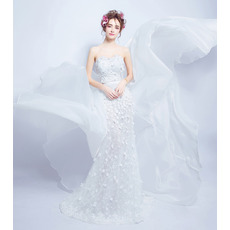 Custom Sheath Sweetheart Applique Wedding Dress with Court Train