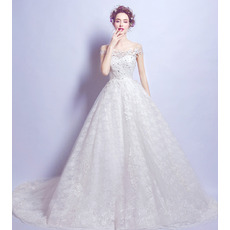 Elegant A-Line Off-the-shoulder Court Train Lace Wedding Dresses
