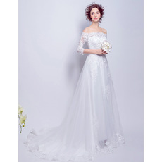 2018 Style Off-the-shoulder Long Wedding Dresses with Half Sleeves
