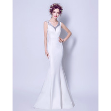 Sexy Mermaid V-Neck Sleeveless Floor Length Satin Wedding Dresses