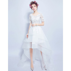Casual A-Line High-Low Organza Wedding Dresses with Short Sleeves