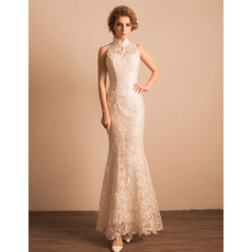 Custom Sheath Mandarin Collar Floor Length Lace Reception Wedding Dress