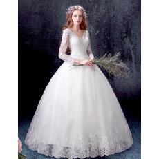 Custom Ball Gown V-Neck Floor Length Wedding Dresses with Long Sleeves