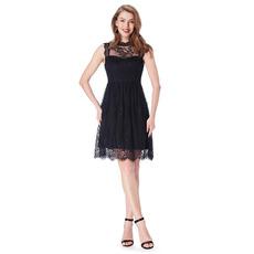 2019 New Sleeveless Mini/ Short Chiffon Lace Black Bridesmaid Dresses