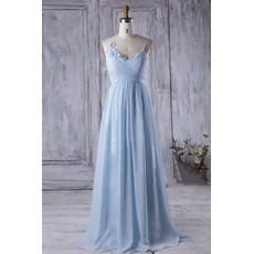 2018 Style Spaghetti Straps Floor Length Chiffon Bridesmaid Dresses