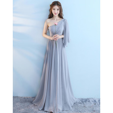 2018 New One Shoulder Floor Length Chiffon Bridesmaid Dresses