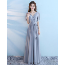 Custom V-Neck Short Sleeves Floor Length Chiffon Bridesmaid Dresses