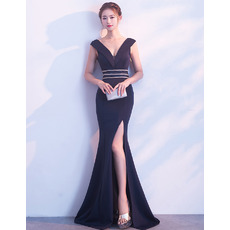 Affordable Sheath V-Neck Floor Length Satin Evening Dress with Slit