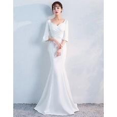 Elegant Mermaid Sweetheart Long Evening Dresses with Half Sleeves
