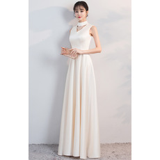 Custom Mock Neck Sleeveless Floor Length Satin Evening Dresses