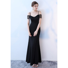 Sexy Spaghetti Straps Long Evening Dresses with Short Lace Sleeves