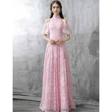 Elegant Mandarin Collar Cold Shoulder Long Lace Evening Dresses