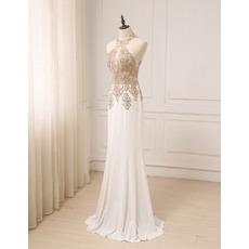 Affordable Sheath Halter Floor Length Chiffon Embroidery Evening Dress