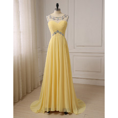 Custom A-Line Sleeveless Floor Length Chiffon Evening/ Prom Dresses