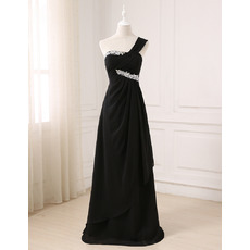 Elegant One Shoulder Floor Length Chiffon Black Evening Dresses