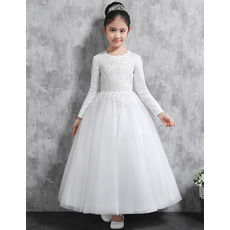 Custom Ankle Length Satin Flower Girl Dresses with Long Sleeves