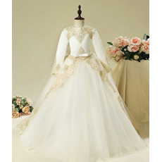 2018 Style Ball Gown Long Flower Girl Dresses with Long Sleeves