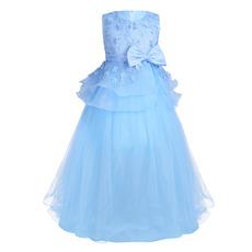 Custom Sleeveless Floor Length Applique Little Girls Party Dresses